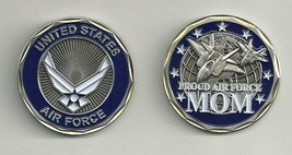 PROUD AIR FORCE MOM   BLUE SILVER WHITE LOGO  USAF MILITARY CHALLENGE COIN - $16.24