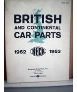 British and Continental Car parts, Beck 1962-1963 - $22.49