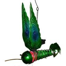 Painted Metal & Glass Solar Powered Light Garden Decoration Hummingbird Decor image 2