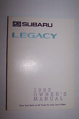 1993 subaru legacy owners manual new original parts service original new