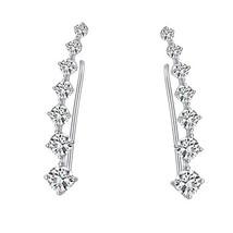 Studs Ear Crawler Earrings Cuffs Climber Jackets 7 Crystals Star Ear Wra... - $13.24