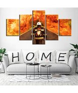 Fire Fighter Poster 5 Piece Framed Wall Art Hero Painting On Canvas Prin... - $74.99+
