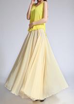YELLOW High Waist Chiffon Maxi Skirt Women Flowing Long Wedding Bridesmaid Skirt image 7