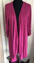 Christopher & Banks Pink Purple Magenta Long Sleeve Open Front Sweater W... - $9.89