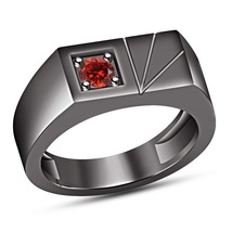 Red Garnet Pinky Ring Mens Black Gold Finish Solid 925 Silver Design Band Ring - £70.64 GBP