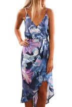 Sky Blue Floral Print Boho Dress - $29.03