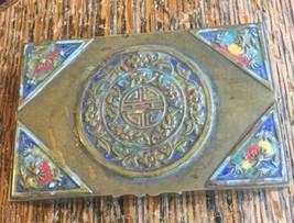 Antique Deco Chinese Bronze Brass Enamel Vanity Trinket Tobacco Ring Van... - $65.69