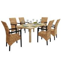 vidaXL Rattan Wicker Chair Abaca Armchair Dining Chairs Solid Mango 2/4/... - $161.99