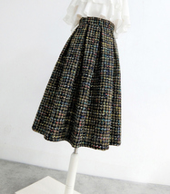 Black Tweed Midi Party Skirt Women A-line High Waist Pleated Tweed Skirt image 5