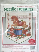 New  Rocking Horse Banner Merry Xmas Cross Stitch Kit Needle Treasures Toys Vtg - $19.55