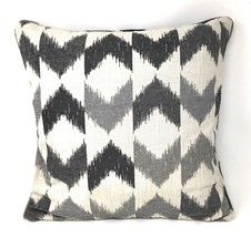 """2 X FILLED BANDED CHEVRON GREY CREAM TAPESTRY CHENILLE PIPED 18"""" - 45CM ... - £13.30 GBP"""