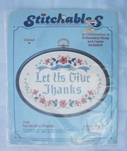 "Dimensions Stitchables Crewel Kit with Frame LET US GIVE THANKS 7"" x 5"" ... - $5.70"