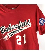 Vtg Single Stitch T shirt Babe Ruth patch Hanes USA L Bakersfield Baseball Red - $39.55
