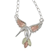 Sterling Hummingbird Pendant & Necklace - Black Hills Gold - $78.48
