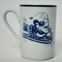 Dansk Bistro Coffee Winter Christmas Mug Santa Blue White - $9.90