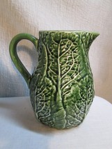 """g105 Secla Portugal Green Cabbage Ceramic pottery 8"""" tall PITCHER Majolica - $45.53"""
