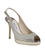 JIMMY CHOO Nova Glitter Platform Slingback Sandals, Champagne (Size 35.5... - $249.95