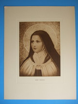 VINTAGE Catholic Print Picture St. Therese Lisieux sepia - never display... - $32.73