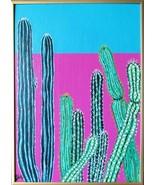 Cactus Garden at Dusk Original Acrylic canvas Board with Gold Metal fram... - $56.00