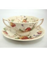 Vintage Royal Doulton Sherborne Cream Soup Bowl w Saucer Underplate Scal... - $14.84