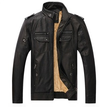 Hot ! High Quality New Winter Fashion Men's Coat Leather Jacket (male coat color image 8
