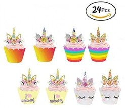 GEORLD Set Of 24 Unicorn Cupcake Toppers And Wrappers Double Sided Kids... - $20.06