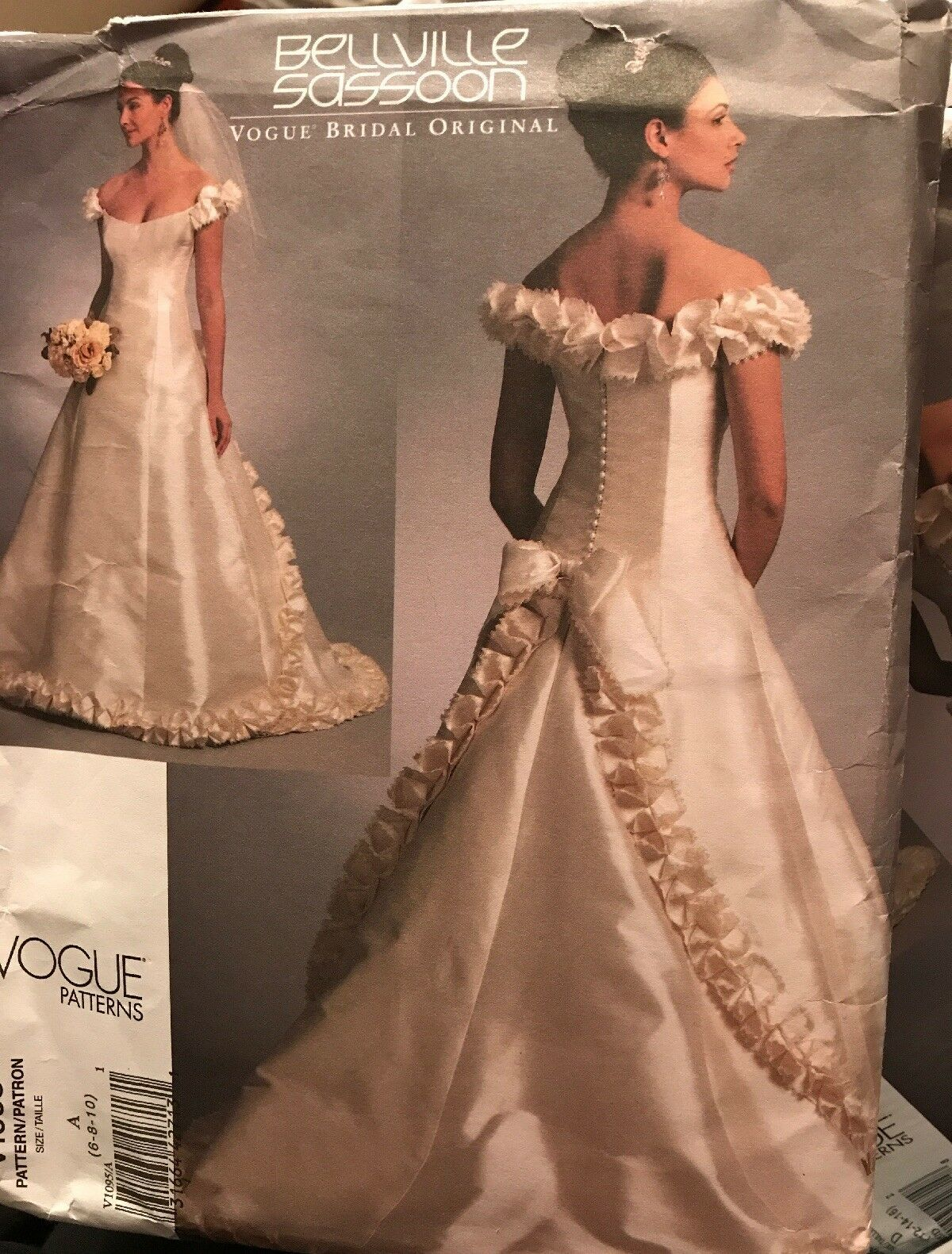 Primary image for Vogue V1095 Bellville Sassoon Bridal Original Wedding Dress 6-10 Uncut Pattern