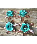 4 metal rose flowers and leaves for accents, embellishments, crafting, j... - $26.99