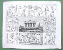 GREECE Mythological Festival before Parthenon Gods - 1844 SUPERB Antique... - $14.85