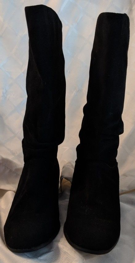 St. Johns Bay Black Suede Mid Calf Boots Small Heel Size 7