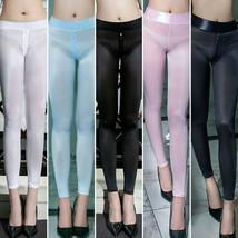 Women's Zipper Open Crotch See Through Leggings Sheer Silky Shiny Pants ... - $14.99