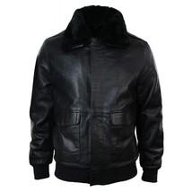 Mens G1 Aviator Air Force Pilot Fur Collar B3 Bomber Black Faux Leather Jacket image 2