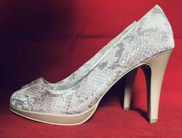 Anne Klein Womens High Heels Beige Snake Skin Leather Peep Toe Pumps Size 9.5M - $28.04