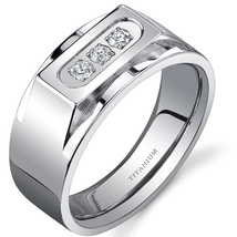 Men's Titanium Bold 3-Stone 10mm Ring - $59.99