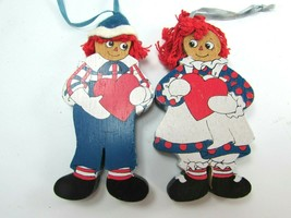 2 Vintage Kurt Adler Raggedy Ann Andy Wood Christmas Ornaments Wooden 31294 - $59.39