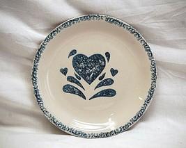 "My Heart Gibson Designs 6-5/8"" Bread & Butter Plate Sponged Blue Heart Stoneware - $9.89"