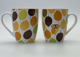Rachael Ray Little Hoot Owl Coffee Mugs Fall Autumn Leaves Set Of Two 8 ... - £7.19 GBP