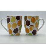 Rachael Ray Little Hoot Owl Coffee Mugs Fall Autumn Leaves Set Of Two 8 ... - $9.89