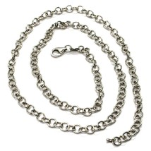 """18K WHITE GOLD CHAIN 23.60"""", ROUND CIRCLE ROLO LINK, DIAMETER 4 MM MADE ITALY image 1"""