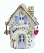 "Small Ceramic Bird House Luminary Pierced Tealight Holder Home Sweet Home 4.75"" - $9.79"