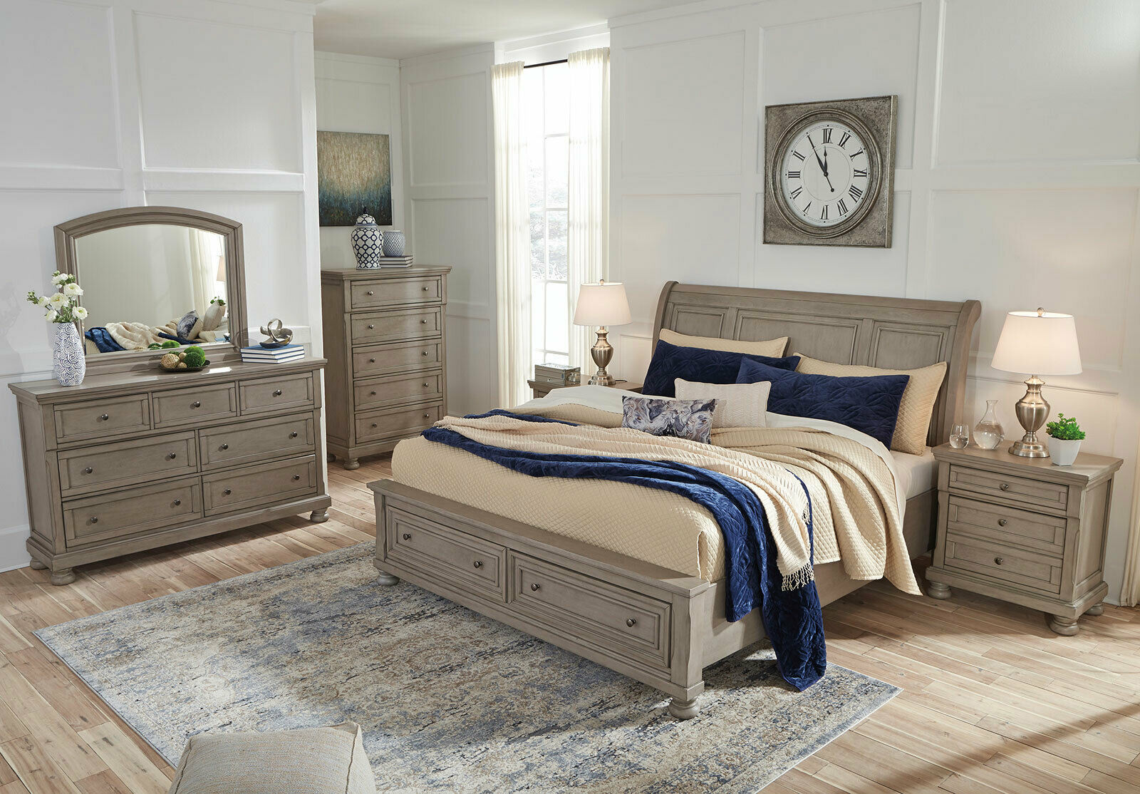 new country cottage gray solid wood furniture - mainz 5pcs king size bedroom set - bedroom sets