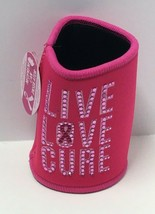 "Novelty Breast Cancer Awareness Pink Neoprene Can Insulator ""Live Love C... - $7.92"