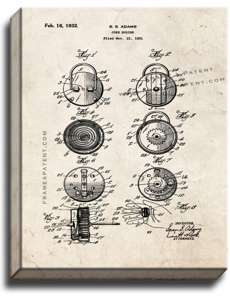 Primary image for Joke Buzzer Patent Print Old Look on Canvas