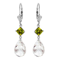 11 Carat 14K Solid White Gold Born To Rock Peridot White pearl Earrings - $356.98