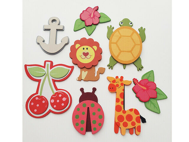 Wood Dimensional Pre-Painted Cut Outs, 11 Pieces