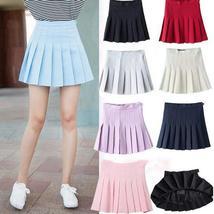 Women's Fashion High Waist Pleated Mini Skirt Slim Waist Casual Tennis Skirt Ple