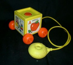 VINTAGE FISHER PRICE PEEK A BOO A B C BLOCK 1970 PULL TOY APPLE BEAR COW... - $17.77
