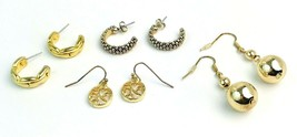 Lot Of 4 Pair Vintage 1980's Gold Tone Pierced Earrings - $11.88
