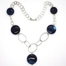 Halskette Silber 925, Achat Blau Gebändert, Disco, mit Anhänger, Länge 50 CM image 2