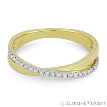 0.15ct Diamond Right-Hand Overlap Stackable Ring Band in 14k Yellow & Wh... - $515.00